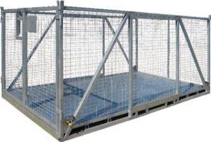 large goods crane lifting cage