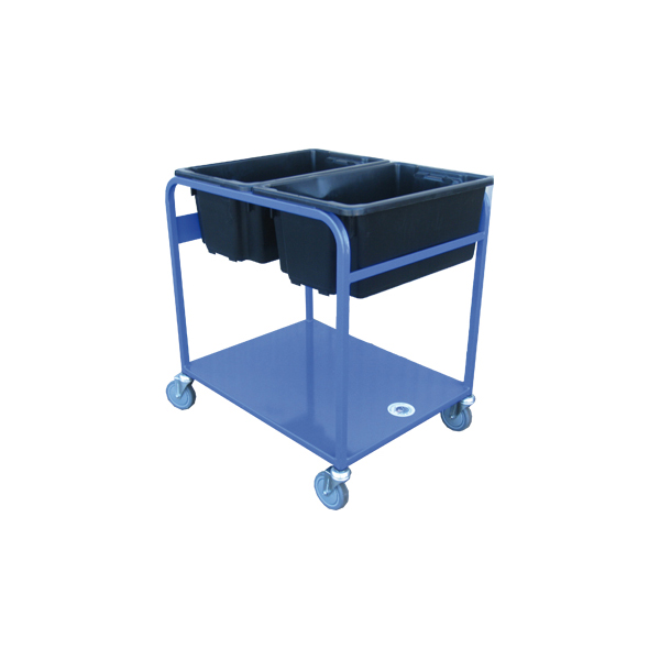 double tub side by side small warehouse trolley