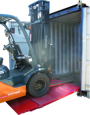 Forklift container ramp (folding)
