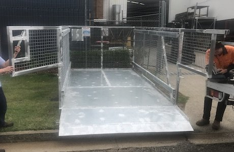 Custom designed crane lifting cage with ramp
