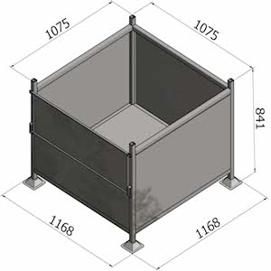 Pallet Cage G70 - Sheet Metal With Half Drop Gate