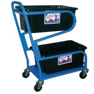 double tub 2 levels small warehouse trolley