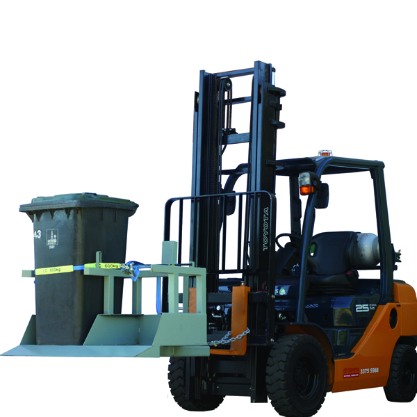forklift double wheelie bin tipper
